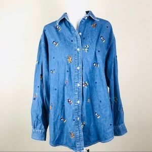 The Disney Store denim button up jean blouse